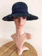 Sombrero Vintage 60s Imagen De Paja Ala Ancha Azul 1960s carreras de Boda Retro Chic