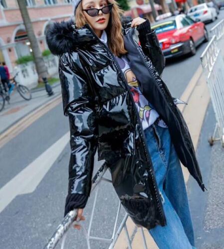à hiver verni capuche noir Parka brillant femmes manteau Cuir veste manteau fourrure chaud rembourré Xxwnfq00a