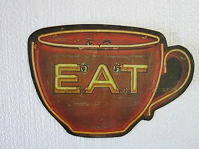Eat Coffee Cup Neon Diner Restaurant Coffee Shop Decor Plasma Cut Metal Sign