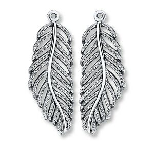 249fb4d96 Authentic Pandora 925 Silver Light As A Feather Earring Charms ONLY ...