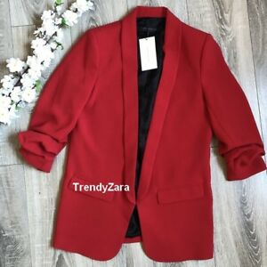 Xs 2387 Red Zara Roja Sleeves New With 778 Ref Gathered Size Blazer Crepe 1xvfxR