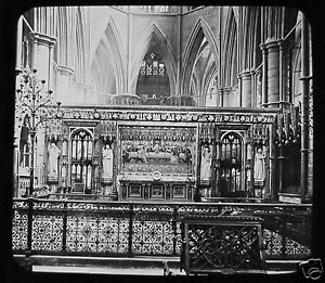 Glass-Magic-Lantern-Slide-THE-REREDOS-WESTMINSTER-ABBEY-LONDON-C1890