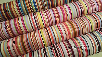Rainbow Multi Stripe Fabric 100% Cotton Material Quilting Bunting stripes crafts