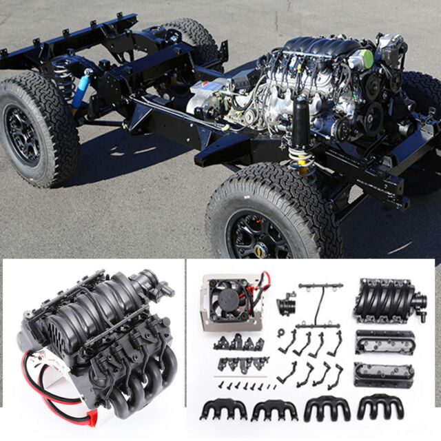 Simulation LS3 V8 6.2L Engine w/Cooling Fan for Trx4 Jeep Land Rover d90/110/130