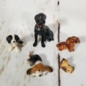 Hagen Renaker Ceramic Dog Figurine Lot Of 5 Black Lab Beagle Cocker Spaniel