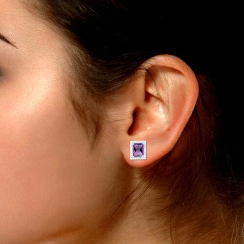 "RADIANT CUT AMETHYST /& CZ Earring /& Pendant Set .75/""X.5/"" .925 Sterling Silver"