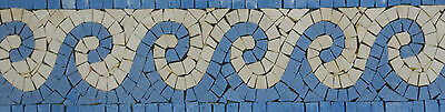 Light Blue Waves Bathroom Garden Border Decor Marble Mosaic BD782