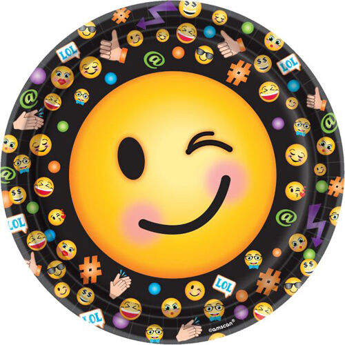 EMOJI LOL LARGE PAPER PLATES 8 ~ Birthday Party Supplies Dinner Luncheon Text