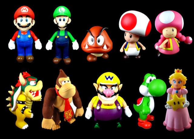Super Mario Action Figures Set Collection Brothers Bros Luigi Peach Kong Yoshi