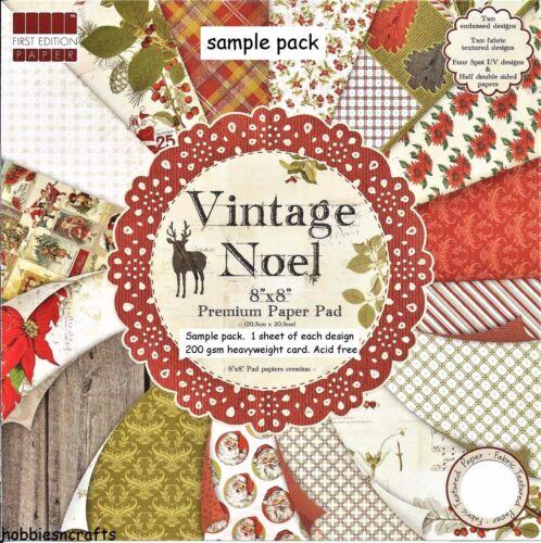 DOVECRAFT vintage NOEL PAPIER 8 x 8 sample pack 1 de chaque design 16 feuilles