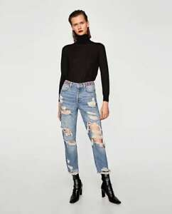 7a89386662 Details about NEW WITH TAGS ZARA High Rise Beaded Ripped Jeans UK 8 EUR 36  USA 4