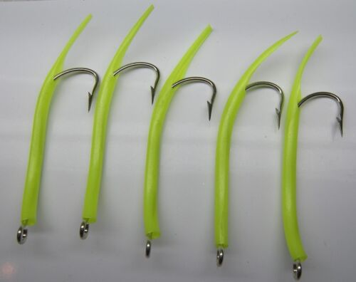 Saltwater Fishing 5 Pack 9//0 31022 Mustad Glow Tube Crochets Stryper Jig Leurre UV