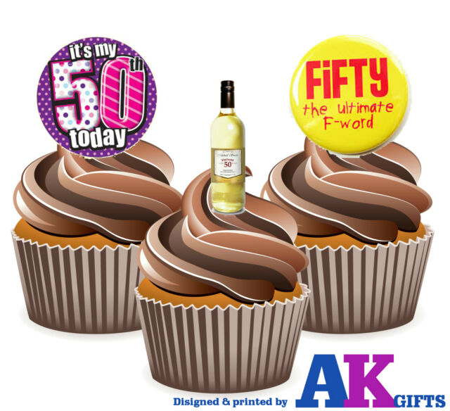 Magnificent 12 X Funny 50Th Birthday Ladies Wine 50Th Mix Edible Cake Toppers Personalised Birthday Cards Beptaeletsinfo