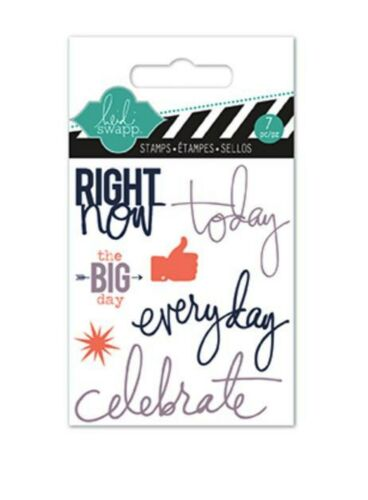 American Crafts Mini Clear Stamp Set ~ HEIDI SWAPP ~ RIGHT NOW  ~9ct  ~ 01128
