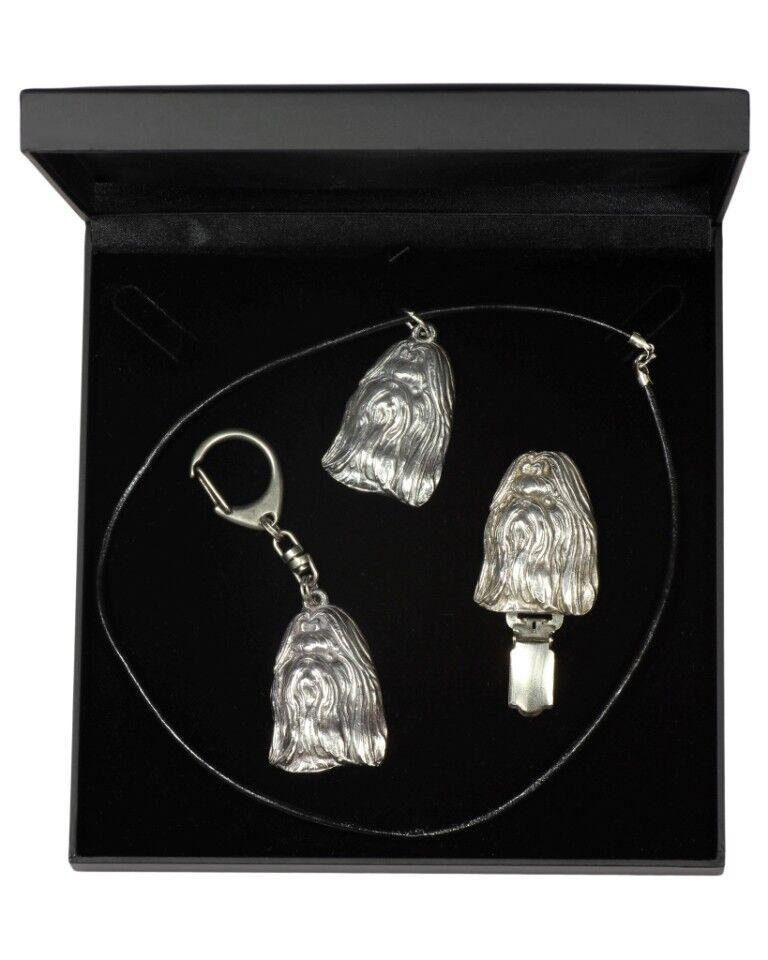 Shih Tzu  set d'un  en, bijoux dans une boîte noire, Art Dog FR Type 2