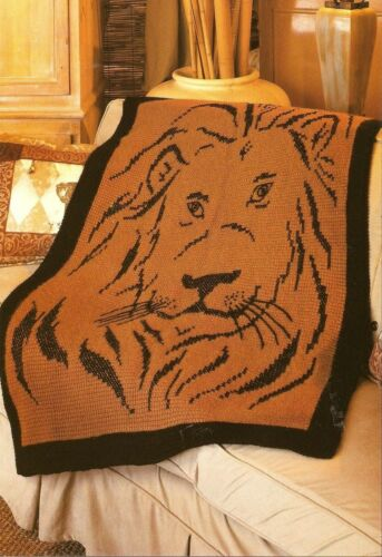 HANDSOME King of the Jungle Lion Afghan Crochet Pattern INSTRUCTIONS ONLY