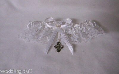 Wedding Party Ceremony Funtime ~Irish Celtic Cross~  Satin /& Lace Garter White