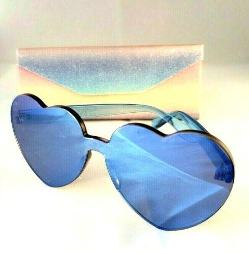 NEW HOT Cute Heart Shaped Sunglasses w//Mirror Lens Glitter Triangle Case Blue