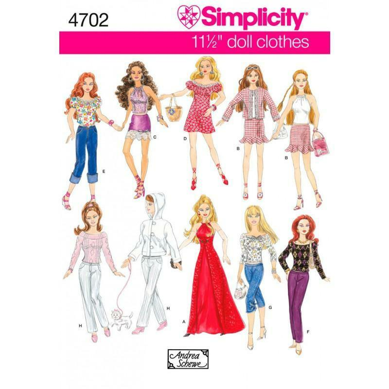 Simplicity Schnittmuster 4702 eine Größe Puppe Kleidung | eBay