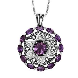 Kabbalah-Pendant-Star-of-David-Amethyst-Gemstones-w-Crystals-CZ-Sterling-Silver