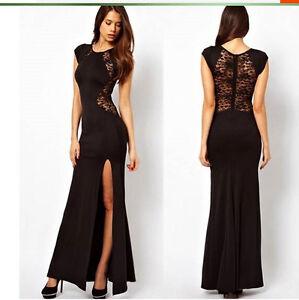 Caricamento dell immagine in corso Elegante-Abito-vestito-lungo-colore-nero- con-spacco- e71e1d67e14