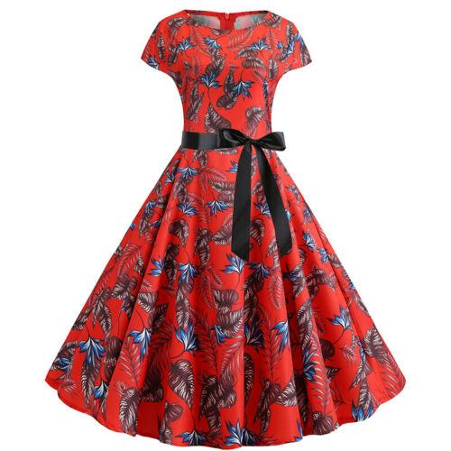 Damen Rockabilly Kleid Hepburn Petticoat 50er Jahre Vintage Party Skaterkleid