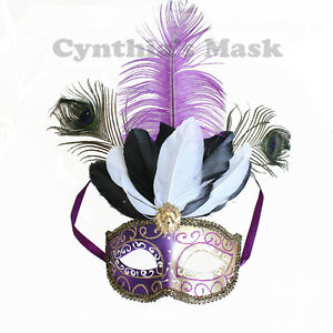 Halloween Masquerade Mask with Hat and Feathers Costume Purple//Gold