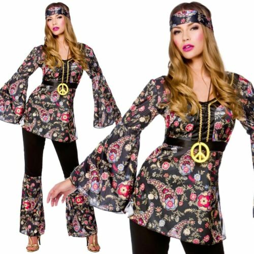 Adults Ladies Peace Loving Hippie Hippy Outfit 60s 70s Fancy Dress Costume New