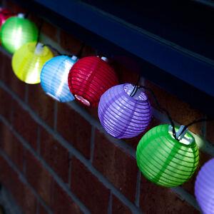 Guirlande solaire automatique 10 lampions de couleurs 10 for Lampion led exterieur