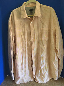Van-Heusen-Orange-amp-Beige-Long-Sleeve-Shirt-Size-Men-039-s-XX-Large-18-18-5-Neck