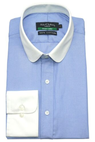 1920s Men's Shirts and Collars History   Mens Club collar shirt Peaky Blinders Sky Blue oxford Penny Round Thomas Shelby $35.00 AT vintagedancer.com