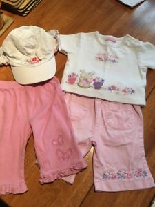 Girls-Pink-Trouser-top-amp-hat-bundle-3-6-Months