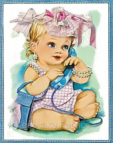 Baby Girl Phone Vintage Reproduction Quilt Block Multi Sz FrEE ShiP WoRld WiDE