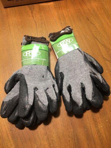 4 Pair Rugged Wear Mens L Rubber Dipped Gloves Concrete Farm Grip Atv Mud Hunt