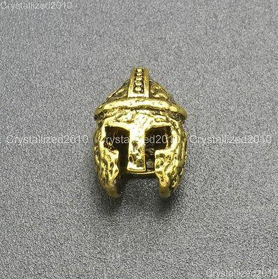 Vintage Antique Solid Metal Sparta Helmets Masks Bracelet Connector Charm Beads