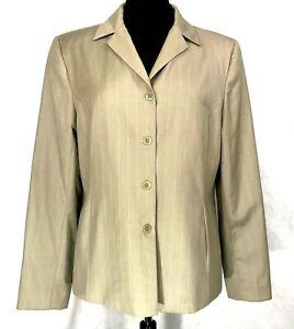 Caslon for Nordstrom Womens Wool Jacket Blazer Tan Pin Stripped Sz 14