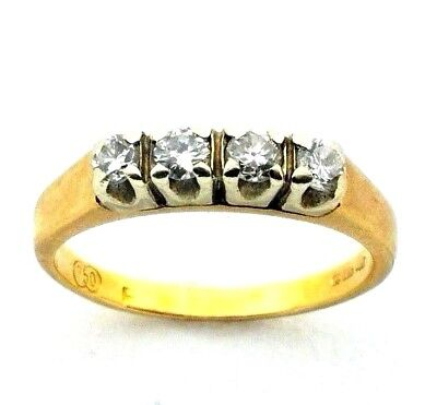 Uk Size L Large Assortment Confident Ladies/womens 9carat/9ct Yellow Gold Ring Set With 4 Diamonds