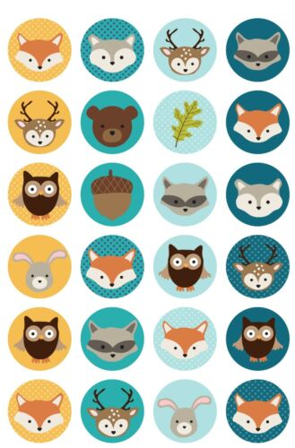 ♥♥ perchas imágenes bosque animales buttons din a4 estribo imágenes set lámina de transferencia ♥♥ set 9