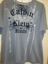 Men's Gray Clavin Klein Gray Tee Shirt XXL fits up to 50 chest Deep Navy Print