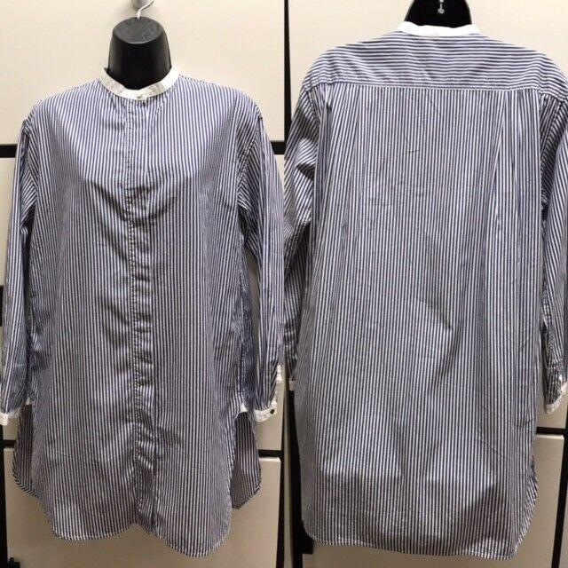 Veritecoeur Cotton Blau Stripe Banded Round Collar Shirt Top