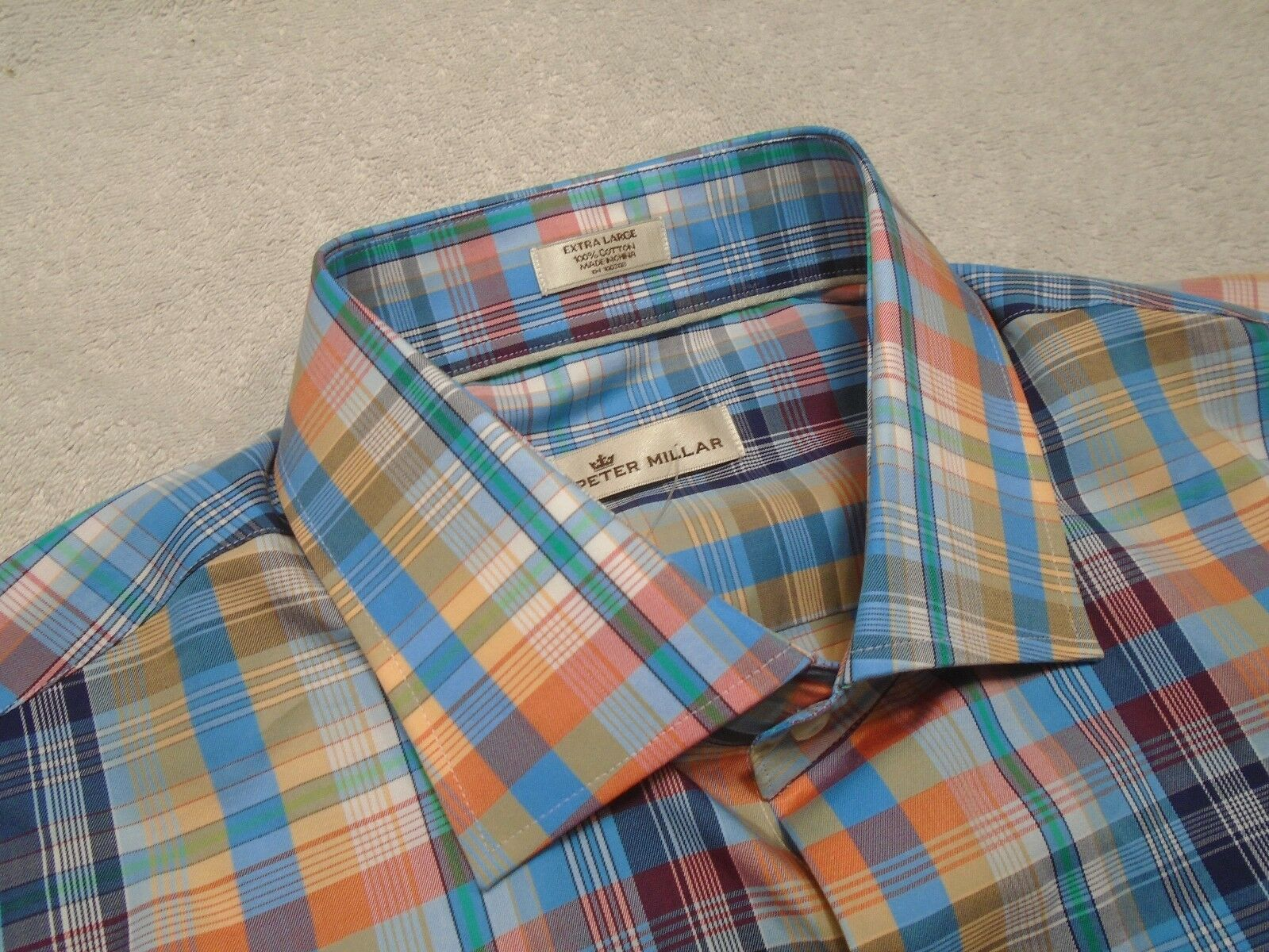 Peter Millar 100% Cotton bluee Multi-color Plaid Sport Shirt NWT XL