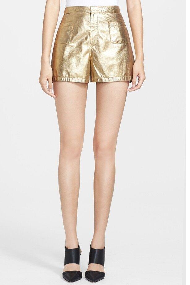 TAMARA MELLON Metallic Suede Shorts. Size 6.NEW 450