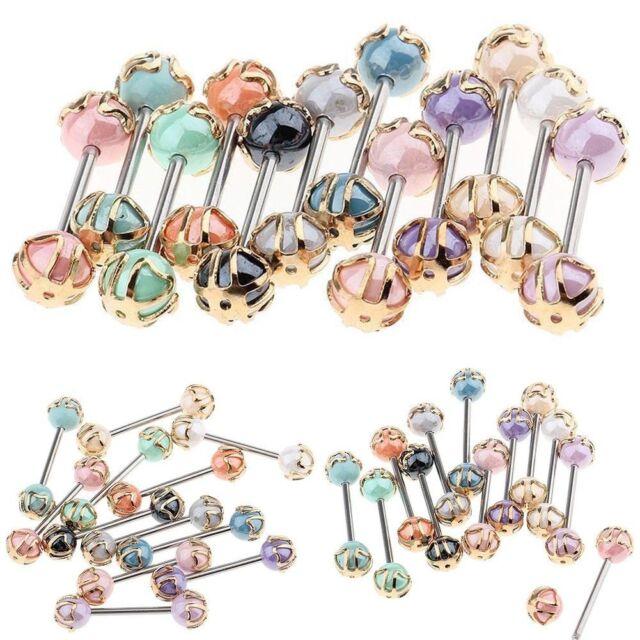 12PCS Acrylic Ball Nipple Tongue Bar Barbell Ring Body Piercing Jewelry 16G