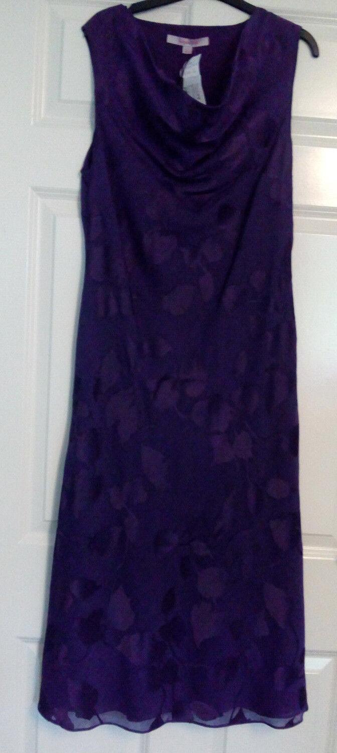 BNWT Jacques verde Viola scuro scuro scuro senza maniche floreale DEVORE Cappuccio collo abito UK SZ 12 1c5285