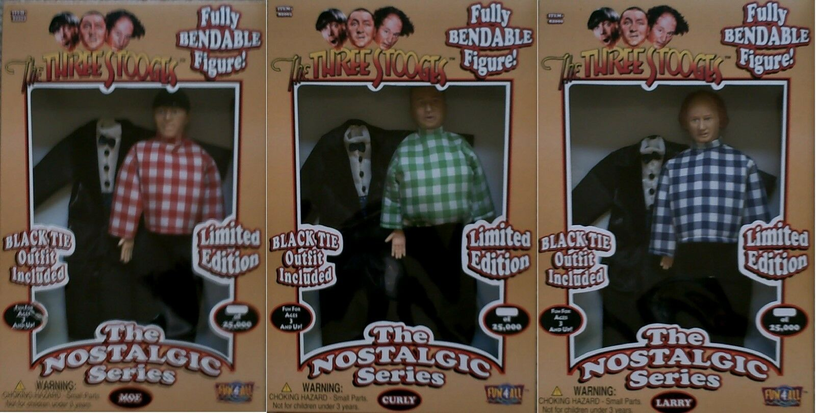 The Three Stooges Nostalgic Series Limited Edition Fully Bendable Figures Set