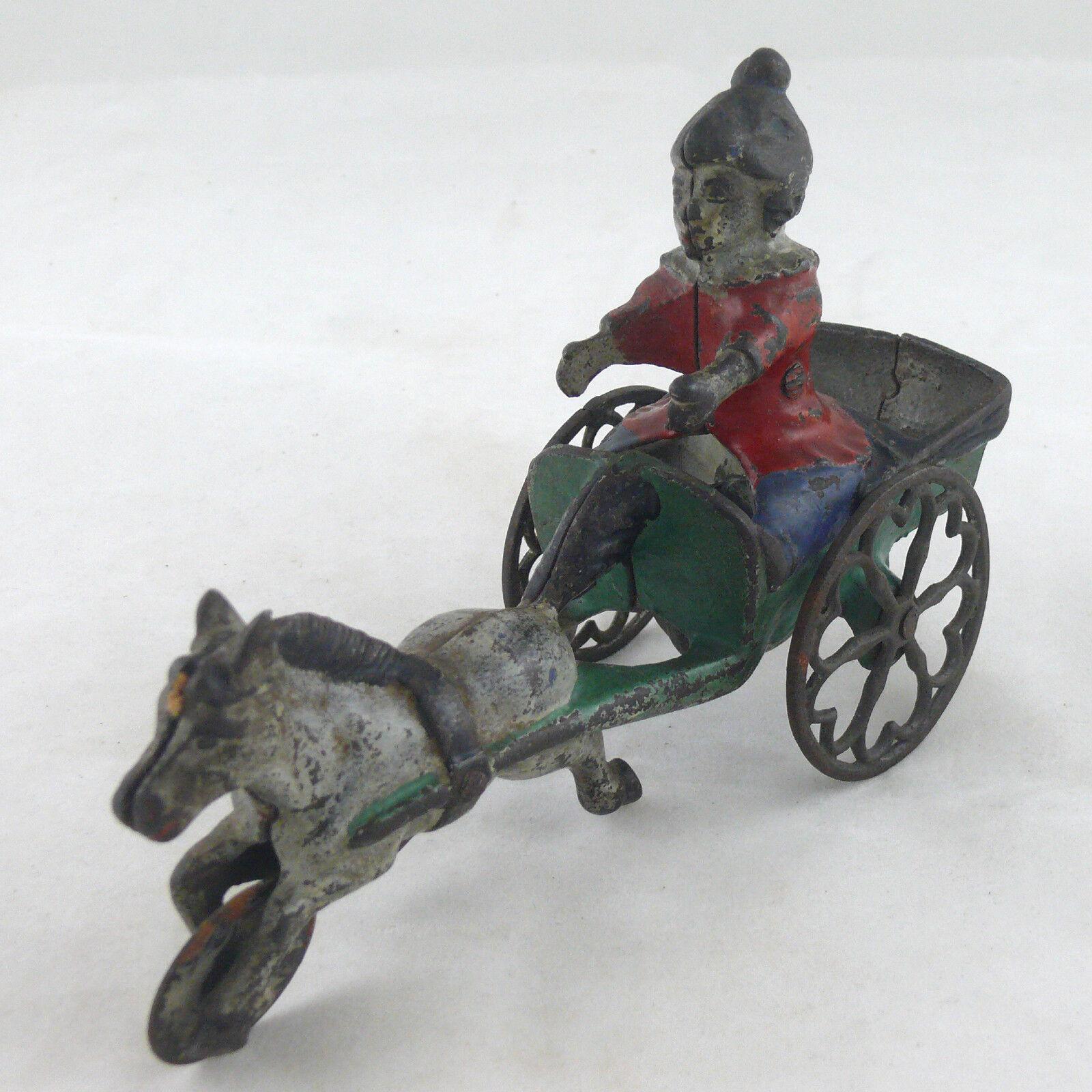 Aprox. 1895-1905 caballo tirando de Juguete de campana de hierro Enano De Payaso hecha por Gong campana Mfg. Co.
