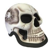 White Skull Man 3d Motorcycle Helmet Skeleton Matte Airbrushed Novelty Biker +