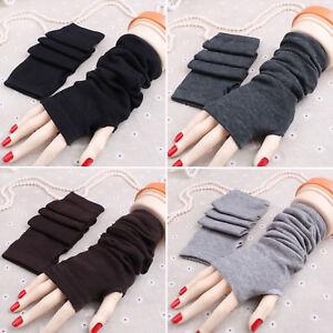 Lady-Women-Plain-Stretchy-Soft-Striped-Wrist-Arm-Long-Fingerless-Gloves-Mittens