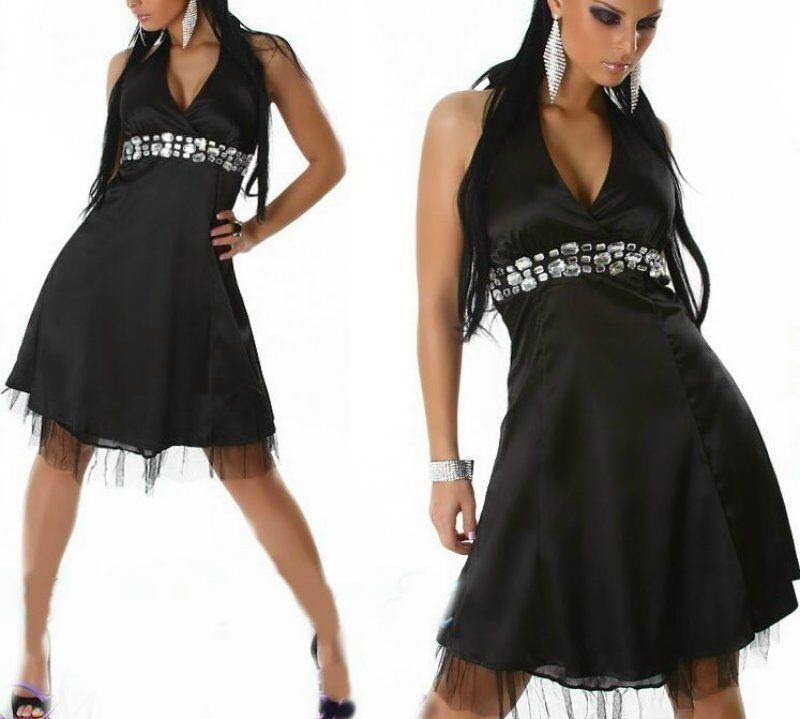 396247487c1 Hondrocream ist die Schnellste Sexy Miss Damen Edel Satin Abend Kleid  Funkel Steine Steine Steine Dress 34 36 36 38