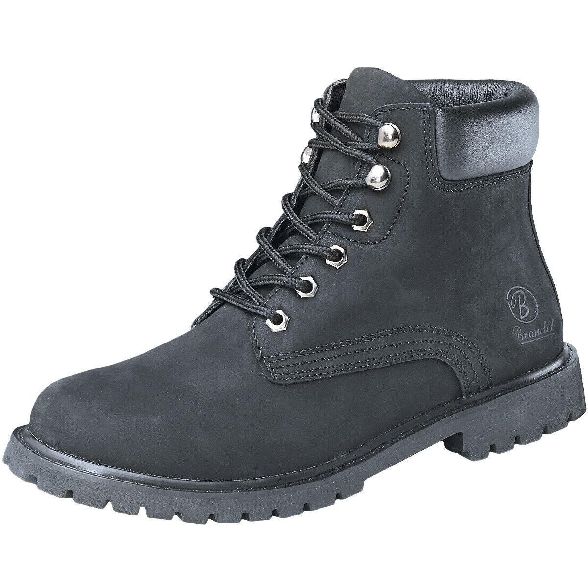 Brandit Kenyon Mens Security Boots Padded Suede Leather Vintage Footwear Black